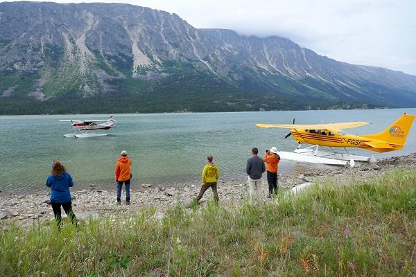 Ruby-Range-Adventure-Stampeders-Route-Trekking-Chilkoot-Trail-watching-float-planes-arrive-on-bennet-lake